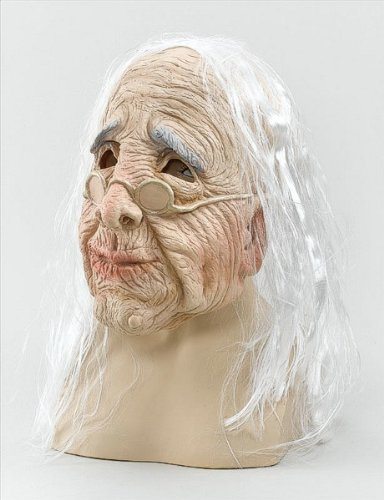 Old Woman Overhead Mask With Hair