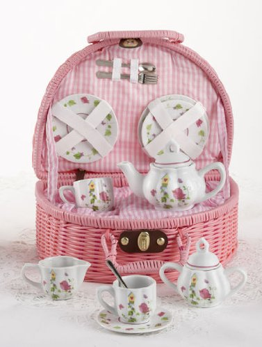 Porcelain Tea Set with Basket, Service for 2, Bird with house