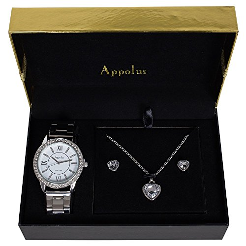 Appolus Mother's Day Gifts - Watch Necklace Earrings set - Birthday Gifts For Women Mom Girlfriend Wife Anniversary Graduation - The Perfect Gift (Silver1) from Appolus