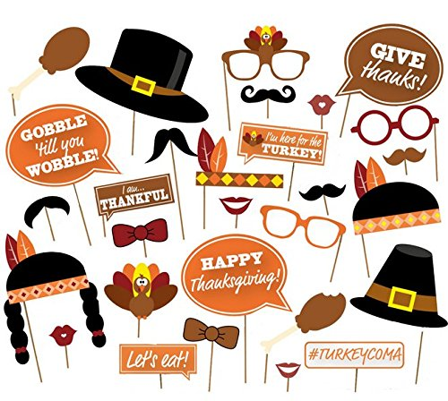 ( 29 Count) Give Thanks,Thanksgiving Day Photo Booth Props,Happy Thanksgiving Photo Booth Props Decorations