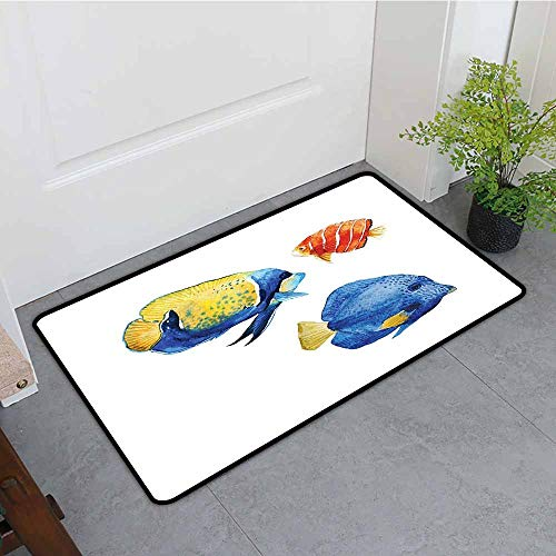 ONECUTE Outside Doormat,Fish Tropical Aquarium Life Discus Fish and Goldfish in Different Patterns,for Outdoor and Indoor,35