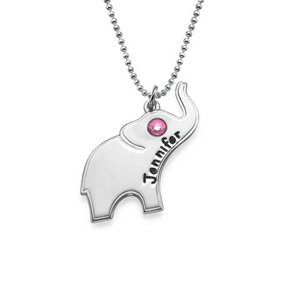 Gold-Plated-Base 16 Yandam Name Custom /& Birth Stone Elephant Necklace Custom Name Necklace Christmas