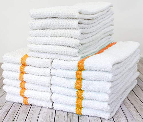 AMU Solutions 12 Gold/Orange Stripe and 6 White Ribbed Bar Mops Restaurant Kitchen Commercial Towels 32oz