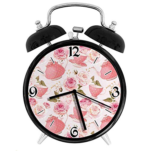 Vintage Style Tea Cups with Roses Romantic Shabby Chic Design Print, Metal Double Bell Alarm Clock, Family Bedroom Travel School Battery Operation Light (Black) 4in