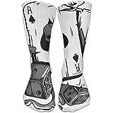 Men Women Novelty Dice Poker Skull Casual High Sock Athletic Crew Stocking Unisex