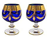 Interglass - Italy, Cobalt Blue Crystal Cognac Snifters Goblets, Vintage Design, 24K Gold Hand Decorated, 10 Oz, SET OF 2