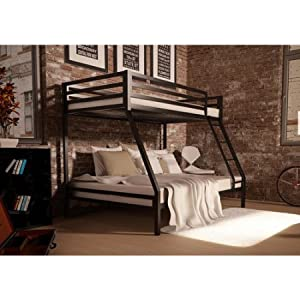 Your Zone premium twin-over-full bunk bed,Black