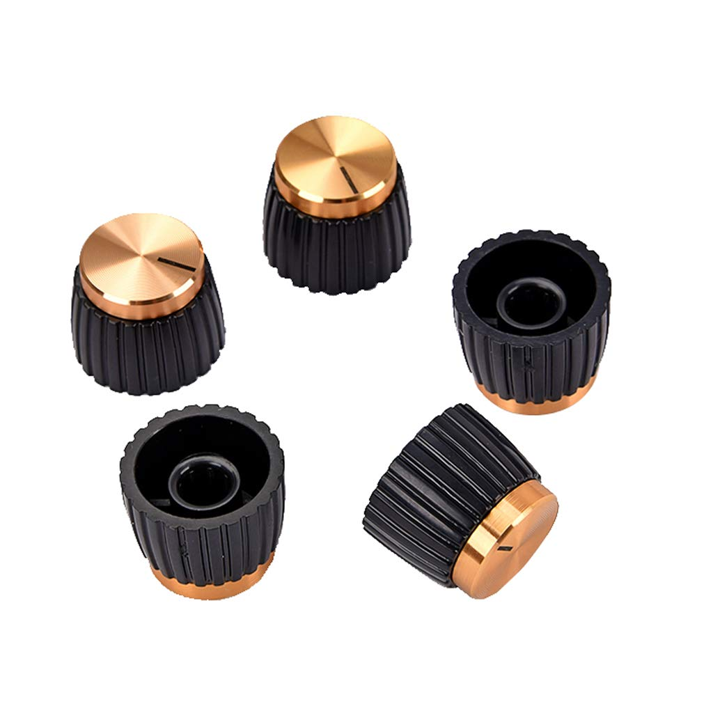 Baoblaze Pack of 5 Round Acoustic Guitar Amplifier Control Knobs Buttons Golden Top for Marshall HZFDYQ119951309252