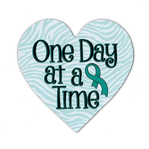 Cervical Cancer Support (Magnetic Bumper Sticker - Cervical Cancer Support Heart - One Day At A Time - Awareness Magnet - 4.25