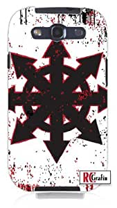 Chaos Symbol Distressed Look with Splatter Unique Quality Hard Snap On Case for Samsung Galaxy S4 I9500 - White Case