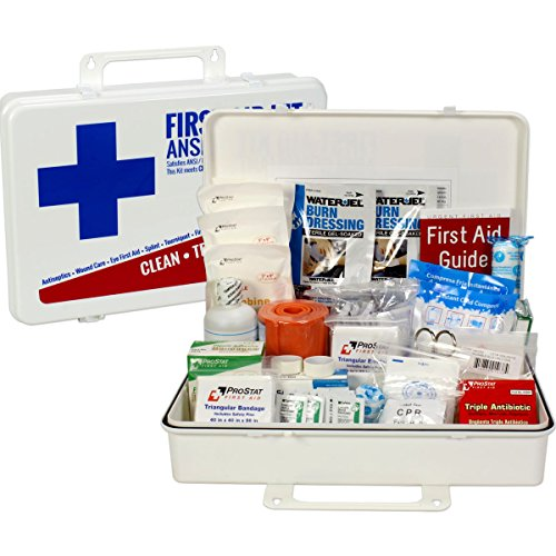 Table First Aid Treatment (OSHA & ANSI First Aid Kit, 50 Person, 198 Pieces, Indoor/Outdoor Emergency Kit for Office, Home or Car, ANSI 2015 Class B, Types I, II & III, Gasketed for Weather and Moisture Resistance, Made in USA)