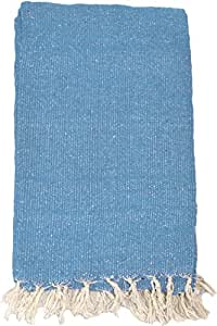 YogaAccessories Solid Color Mexican Yoga Blanket - Light Blue