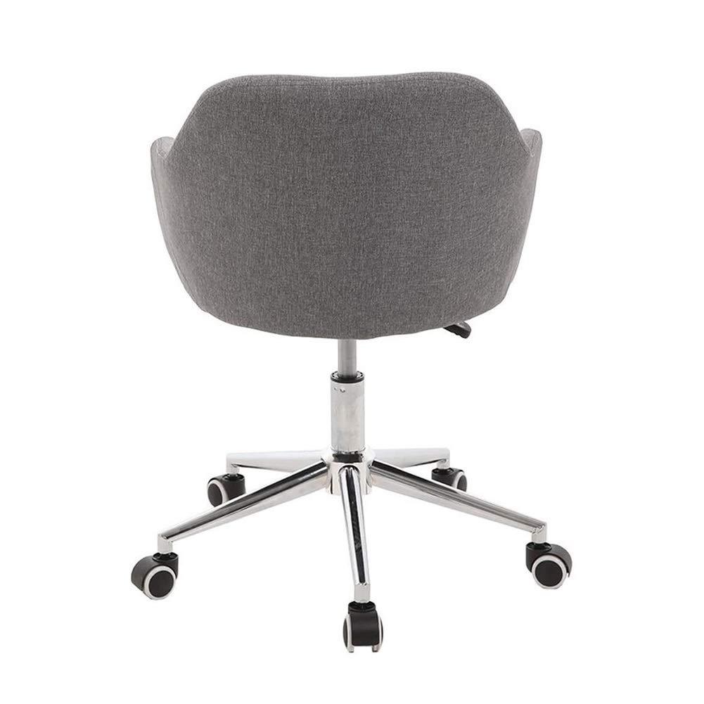 Kontorsstol skrivbordsstol möbler ergonomisk hem kontorsskrivbord, vridbar linne soffa, 8 cm justerbar höjd liten uppgift (färg: Gul) Grått
