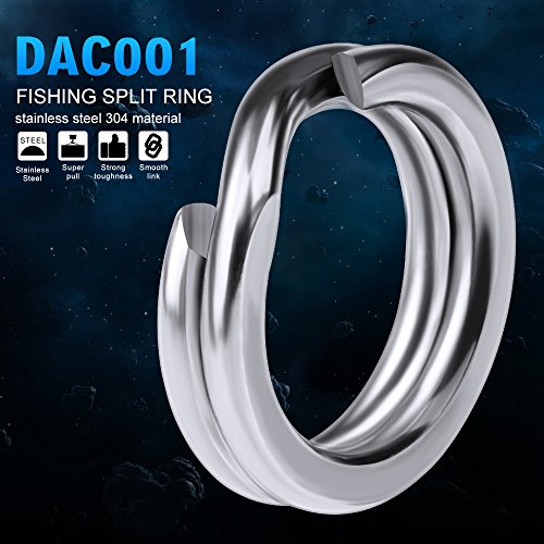- Baikalbass Fishing Stainless Steel Split Rings High Strength Solid Snap Ring Loop Metal Double Circle Heavy Duty Lure Tackle Chain Connectors Fishing Tackle 8# 100pcs