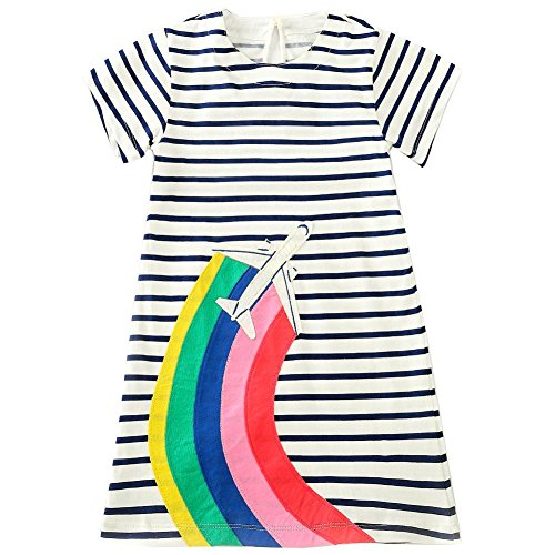 Frogwill Toddler Girls Striped Rainbow Summer Party Casual Dress (Poplin Party Dress)