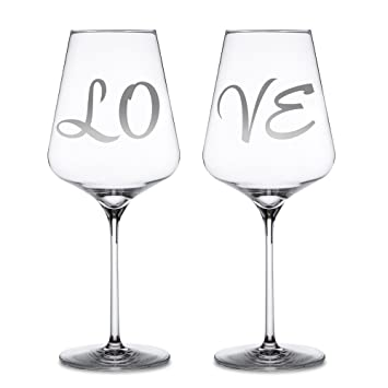 Amazon 2 Piece Set Red Wine Glasses With Engraving Love