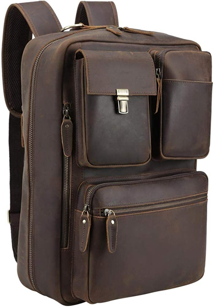 Tiding Leather 15.6 Inch Laptop Backpack Convertible Briefcases Messenger Bag Shoulder Bag Business Travel Daypack