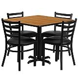 Dyersburg 5pcs Table Set Square 36'' Natural Laminate X-Base, Black Metal Chairs