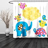 HAIXIA Shower Curtain Nursery Diverse Cartoon Happy Animals Tortoise Elephant Lovely Yellow Cloud Drawing Style Multicolor
