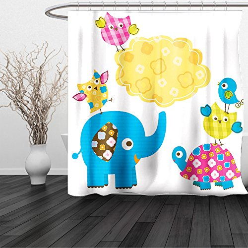 HAIXIA Shower Curtain Nursery Diverse Cartoon Happy Animals Tortoise Elephant Lovely Yellow Cloud Drawing Style Multicolor by HAIXIA