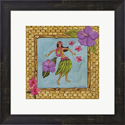 Tiki Girl III by Jennifer Brinley Framed Art Print Wall Picture, Espresso Brown Frame, 15 x 15 inches