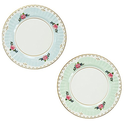 Talking Tables Truly Scrumptious Large Pastel Dinner Paper Plates for a Tea Party, Wedding or Birthday, Blue/Green -