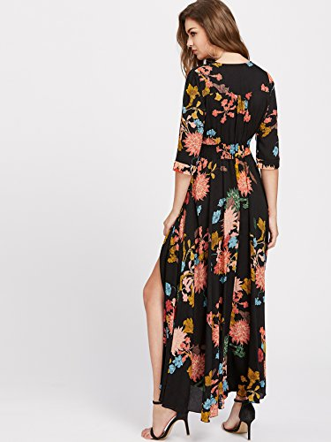 Milumia Women's Button Up Split Floral Print Flowy Party Maxi Dress Black and Yellow 2