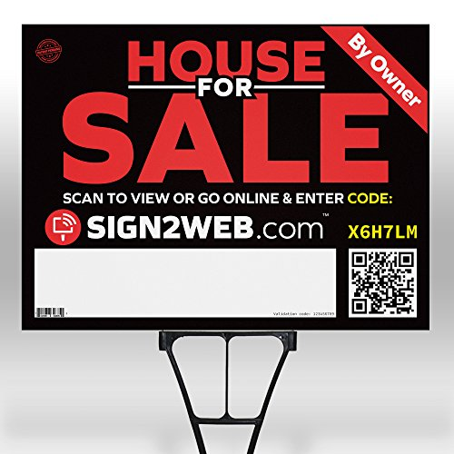 "WEB ENABLED Home For Sale SIGN & POST + WEBSITE - LASER PRINTED High Visibility House For Sale By Owner Sign - 2 Sided 18"" x 24"" House For Sale Yard Sign - SELECT FROM VARIOUS STYLES & SIZES BELOW! by Sign2Web"