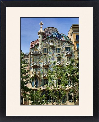 Framed Print of Casa Batllo house designed by Gaudi in Barcelona, Spain by Prints Prints Prints