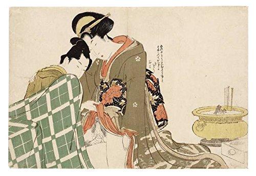 Wall Art Print Entitled UTAMARO, Three SHUNGA Woodblock Prints by UTAMARO by Celestial Images   48 x 33