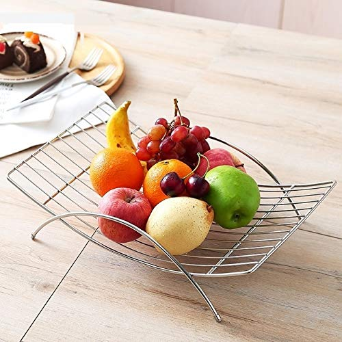 BeesClover Creative Minimalist Stainless Steel Arc Shape Fruit Plate Ornamental Metal Serving Tray Household Dinnerware Decor Accessories Silver