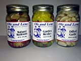 Ole & Lena Pickled Preserves (3 pack)-Marinated Mushroom, Garden Medley & Dilled Garlic
