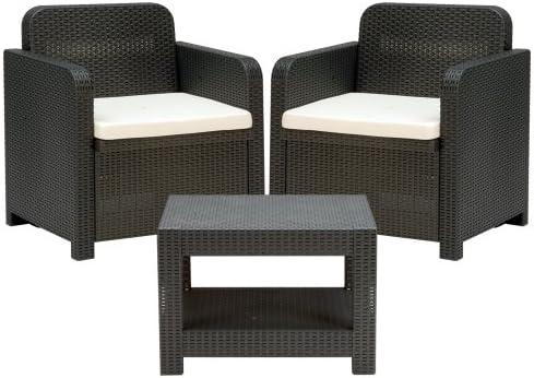 WEBMARKETPOINT Salón de ratán sofá sillón y Mesa Antracita para Muebles jardín Bar: Amazon.es: Hogar