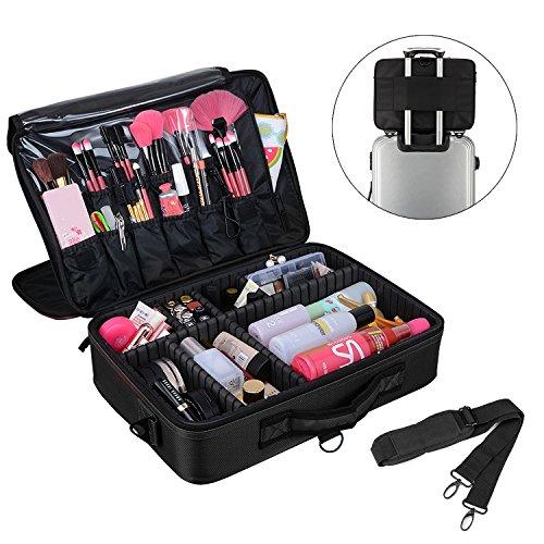 Amasava Makeup Bag Large Space 3 Layers Travel Makeup Box 16 Cosmetic Case Portable Artist Bag Toiletry Organizer Beauty Storage Case Vanity Bag