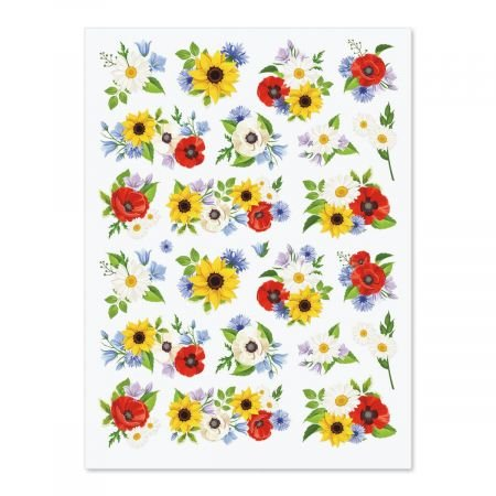 - Current Poppies, Sunflowers & Daisies Stickers - 88 Flower Stickers on four 8-1/2