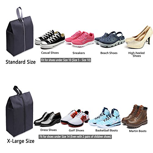 Black Non-Woven Large Drawstring Shoe Storage Pouch for Men and Women Timoo 14 Pcs Travel Shoe Bags