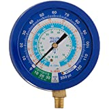Yellow Jacket 49514 3-1/2 Liquid-Filled Gauge (degrees F) Blue Compound, 30-0-120 psi, R-22/134A/404A