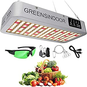 GreensIndoor 1500W LED Grow Light for Indoor Plants Full Spectrum Sunlight 3500K White and Red 660nm with Timer and…