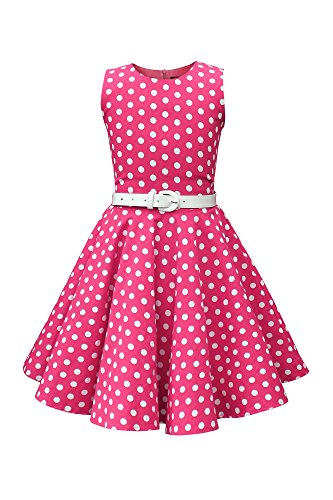 BlackButterfly Kids 'Audrey' Vintage Polka Dot 50's Girls Dress (Pink, 7-8 YRS) for $<!--$33.99-->