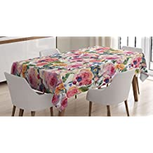 Shabby Chic Decor Tablecloth by Ambesonne, Country Design with Flowers Florals Roses Orchids Buds Romantic Print , Dining Room Kitchen Rectangular Table Cover, 60 W X 84 L Inches, Multicolor