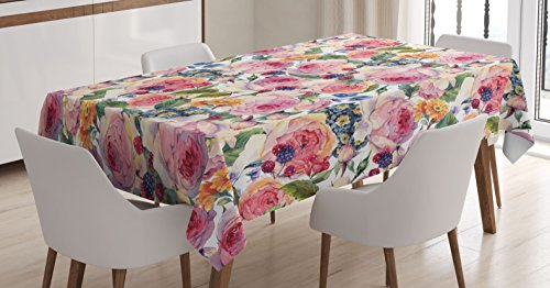 Ambesonne Shabby Chic Decor Tablecloth, Country Design with Flowers Florals Roses Orchids Buds Romantic Print, Dining Room Kitchen Rectangular Table Cover, 60 W X 84 L Inches, Rose Green
