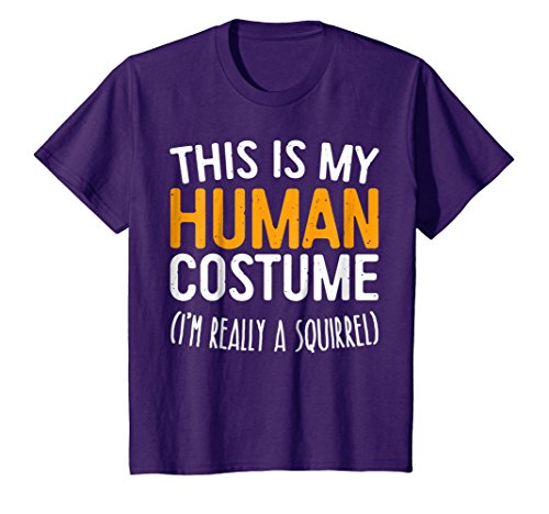 Kids This Is My Human Costume I'm Really A Squirrel T-Shirt 12 Purple