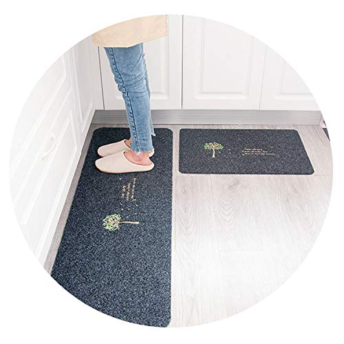 2PCS Floor Mats Non Slip Water Oil Absorption Carpet Long Kitchen Door Bathroom Mat Door Mat,gray2,40X60CM 40X120CM