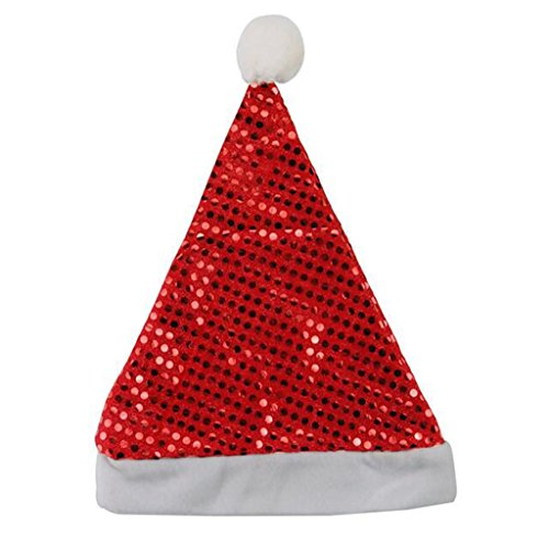 Deluxe Classic Mrs Claus Costumes (Eternatastic Christmas Adult Santa Hat Plush Santa Claus Party Hats Seqins Red)