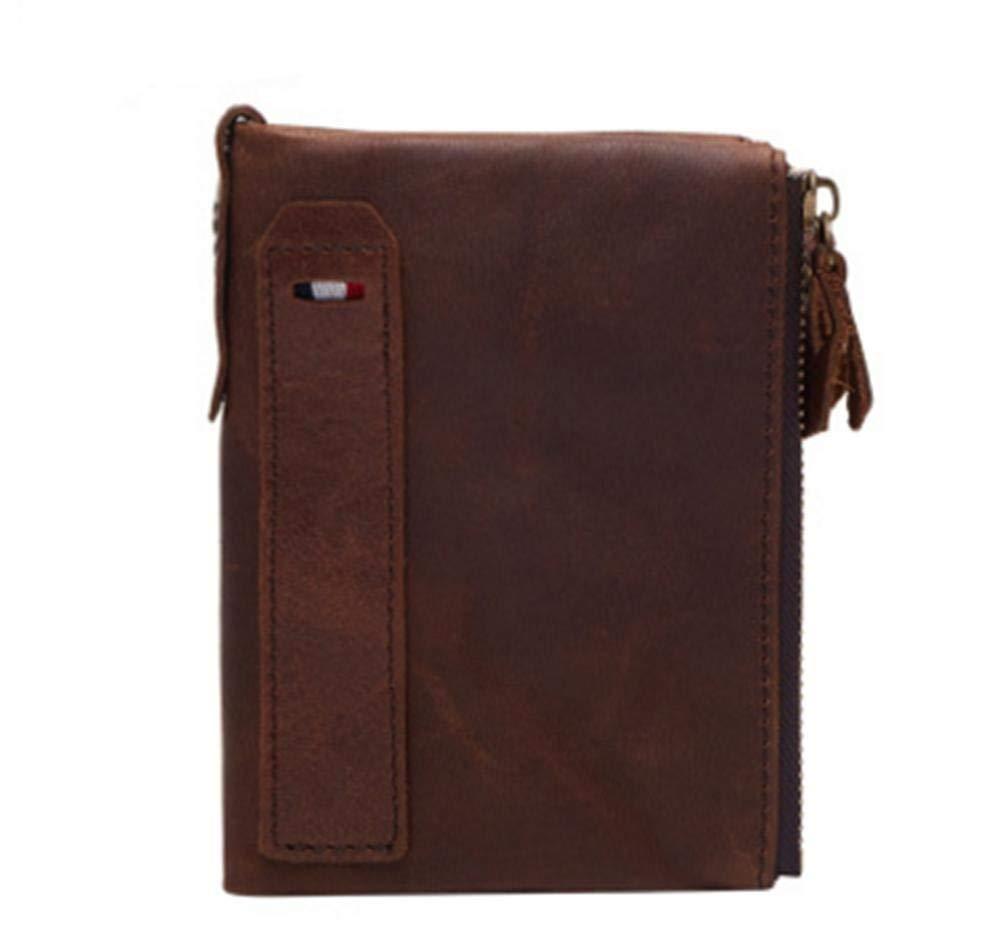 Yter Mens-Kartenmappenhalter Anti-RFID stehlen Leder Herren Geldbörse Casual Mode Doppel Reißverschluss Kurze Geldbörse Brieftasche für Männer B07NVB58QT Geldbrsen