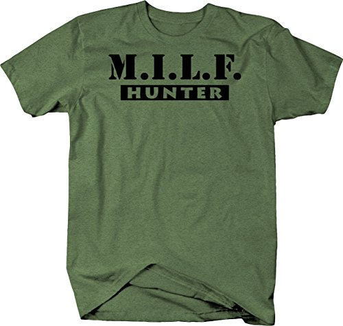 Milf Hunter Funny Sexy Mom Tshirt - Medium Heather Military Green (Milf Hunter Best Of)