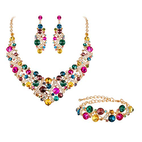 Flyonce Women's Austrian Crystal Wedding Luxury Floral Filigree Necklace Earrings Set Iridescent Clear AB Gold-Tone ()