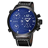 Dig dog bone Round Dial Three Function Dials Fashion Sport Men Quartz Watch With PU Leather Band (Color : White)