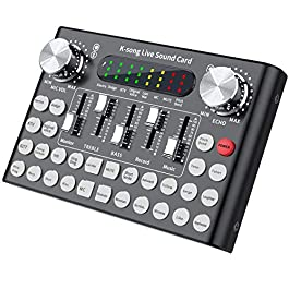 SOONHUA Bluetooth Mini Sound Mixer Board, Universal Voice Changer External Live Sound Card with 18 Sound Effects for…