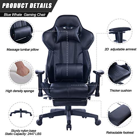 Blue Whale Gaming Chair with Adjustable Massage Lumbar Pillow,Retractable Footrest and Headrest -Racing Ergonomic High-Back PU Leather Office Computer Executive Desk Chair (GM039Black-2) 51pYKWyLRoL